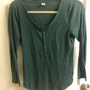 Old Navy green fitted Henley thermal